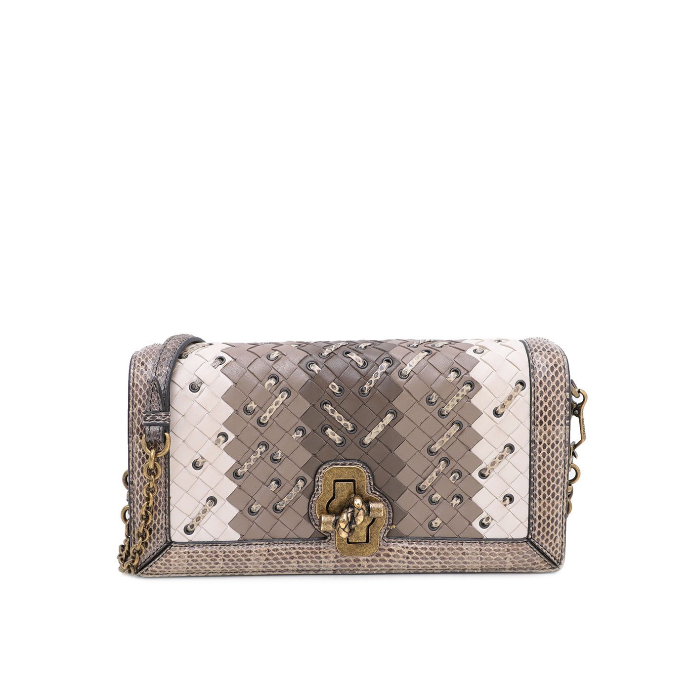 Bottega Veneta Tricolor Mist Intrecciato Club Stitch Olimpia Knot Clutch