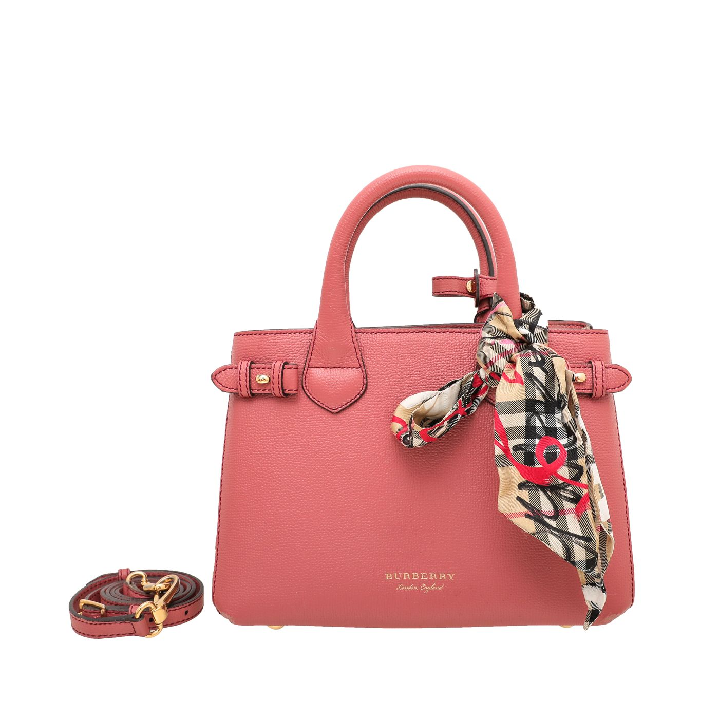 Burberry Coral Banner Tote Small Bag