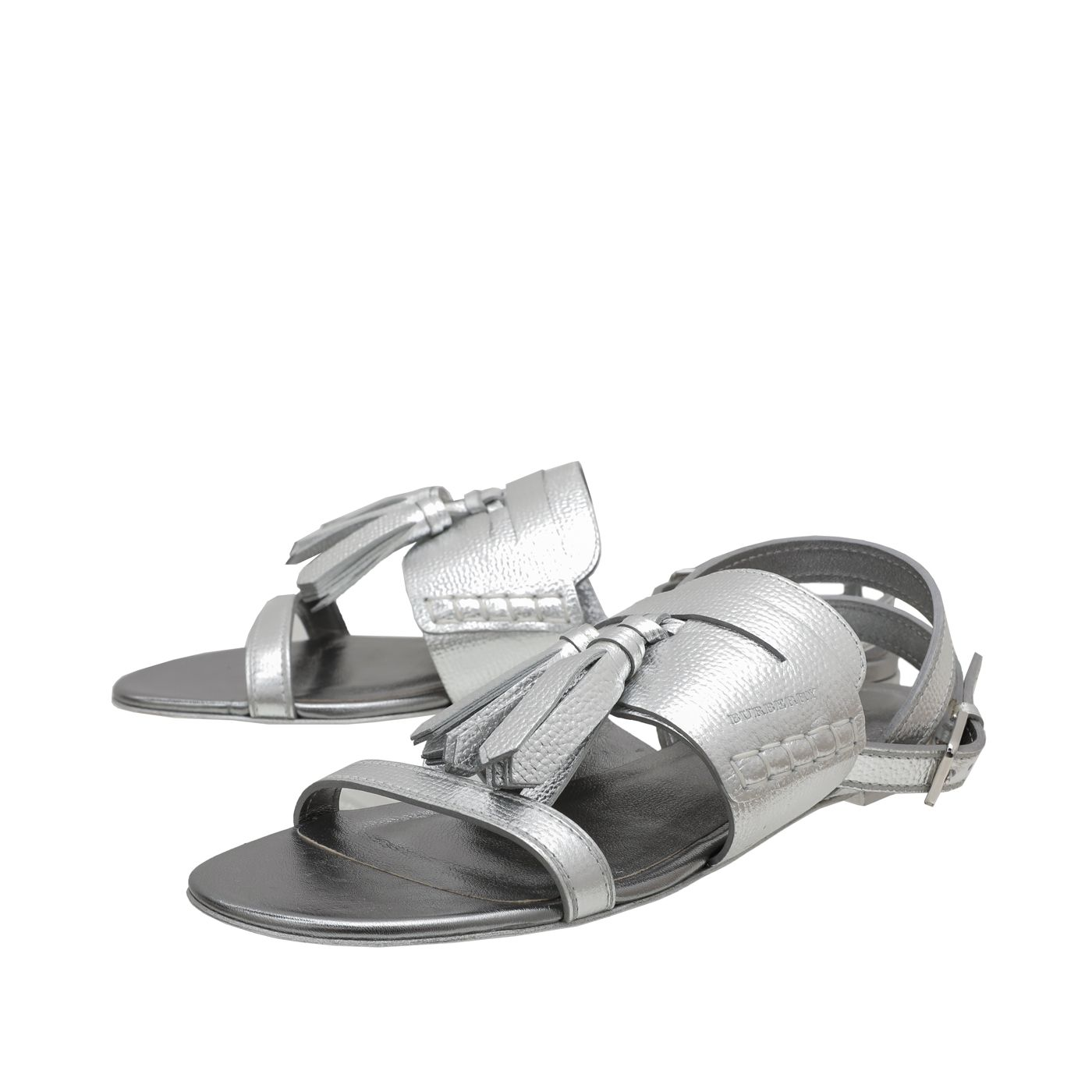 Burberry Silver Bethany Flat Sandals 38.5