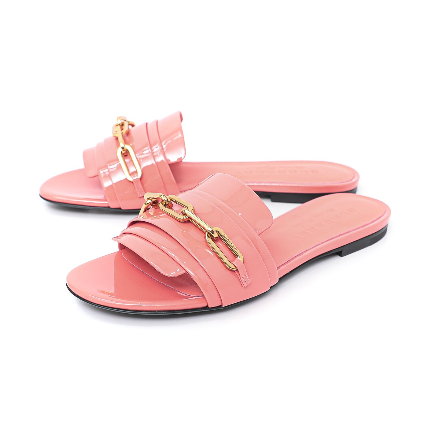 Burberry Pink Coral Chain Coleford Flat Sandals 37