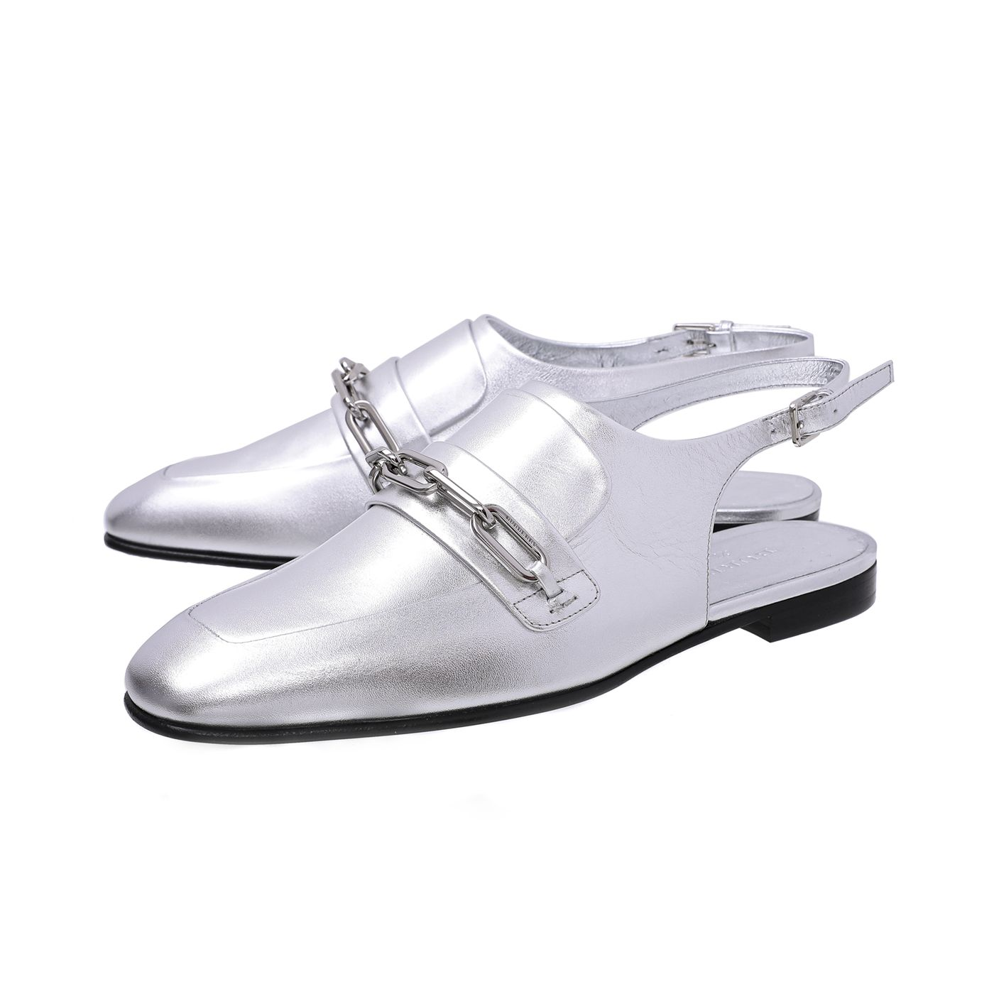 Burberry Silver Grey Cheltown Metallic Slingback Loafers 38.5
