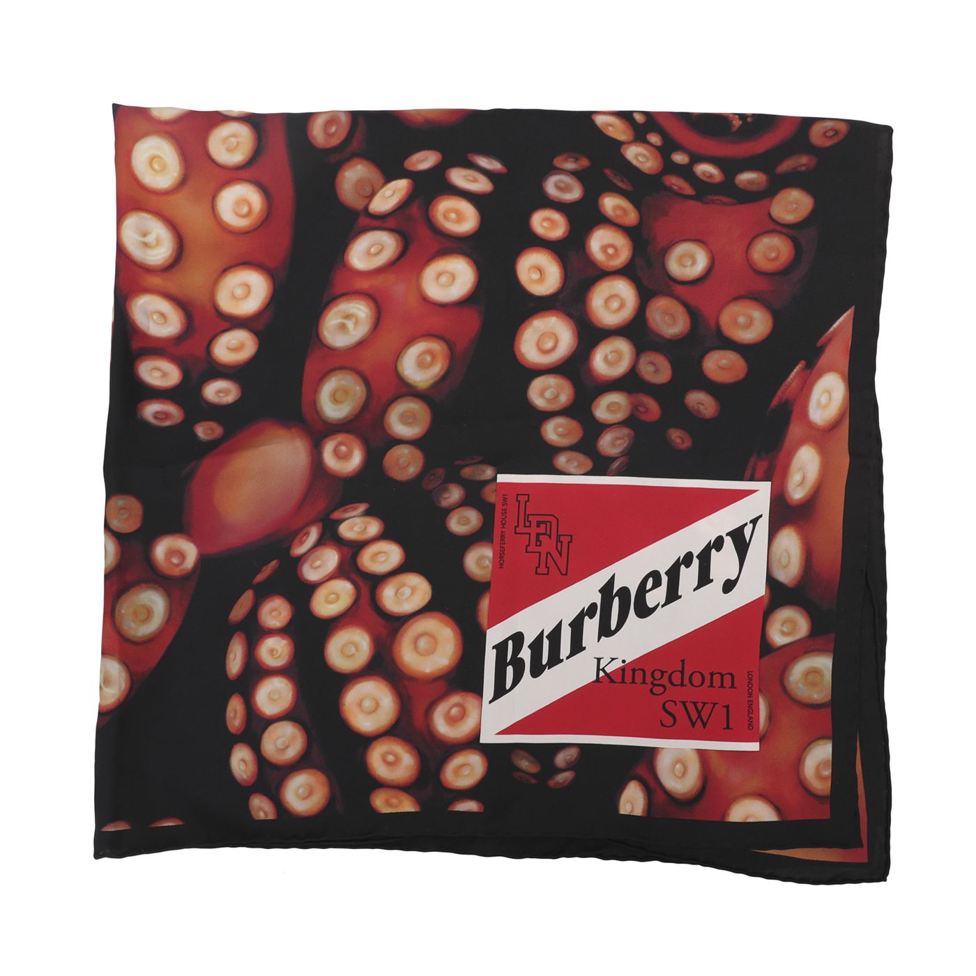 Burberry Tricolor Octopus Print Silk Scarf