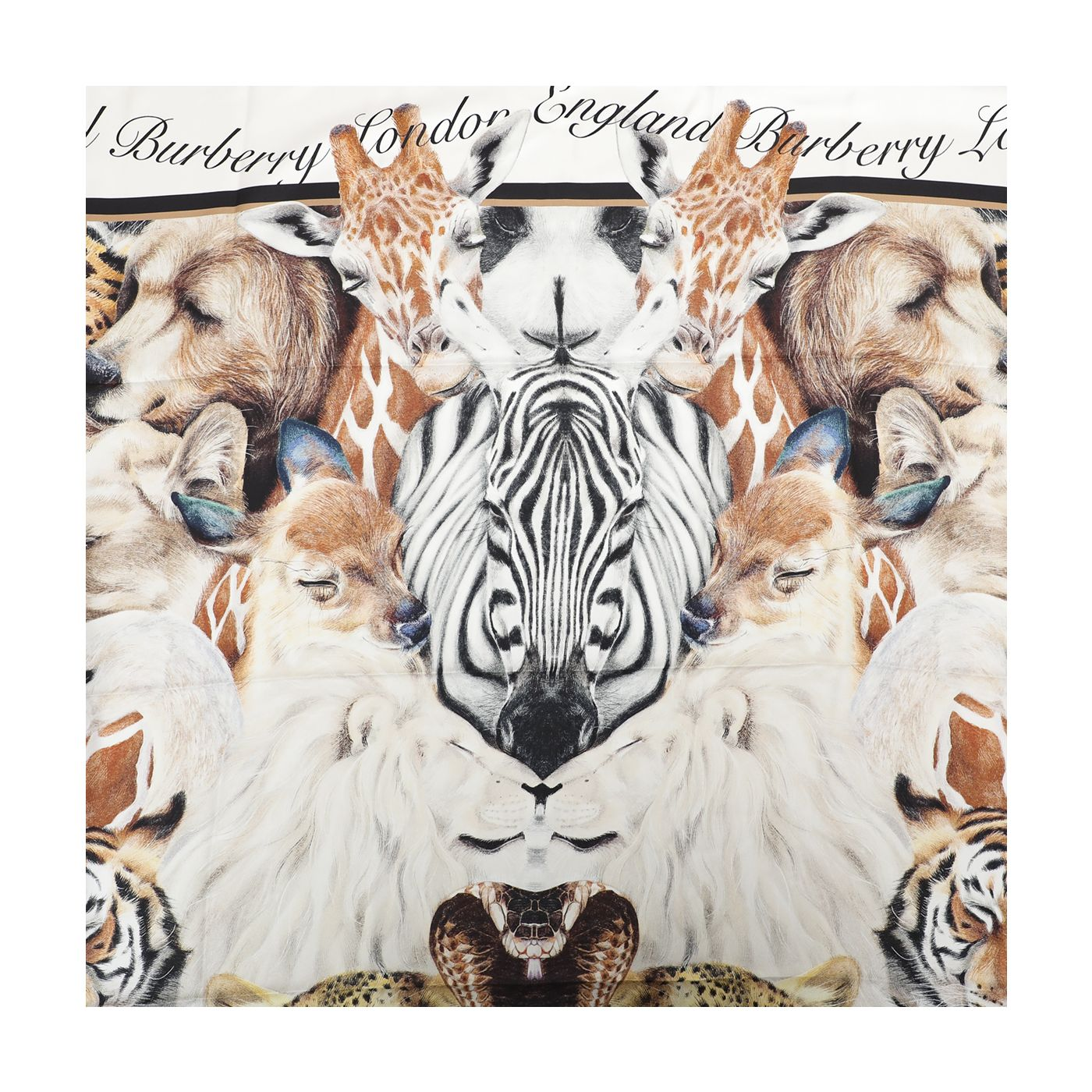 Burberry White Multicolor Sketched Animals Rectangle Silk Scarf