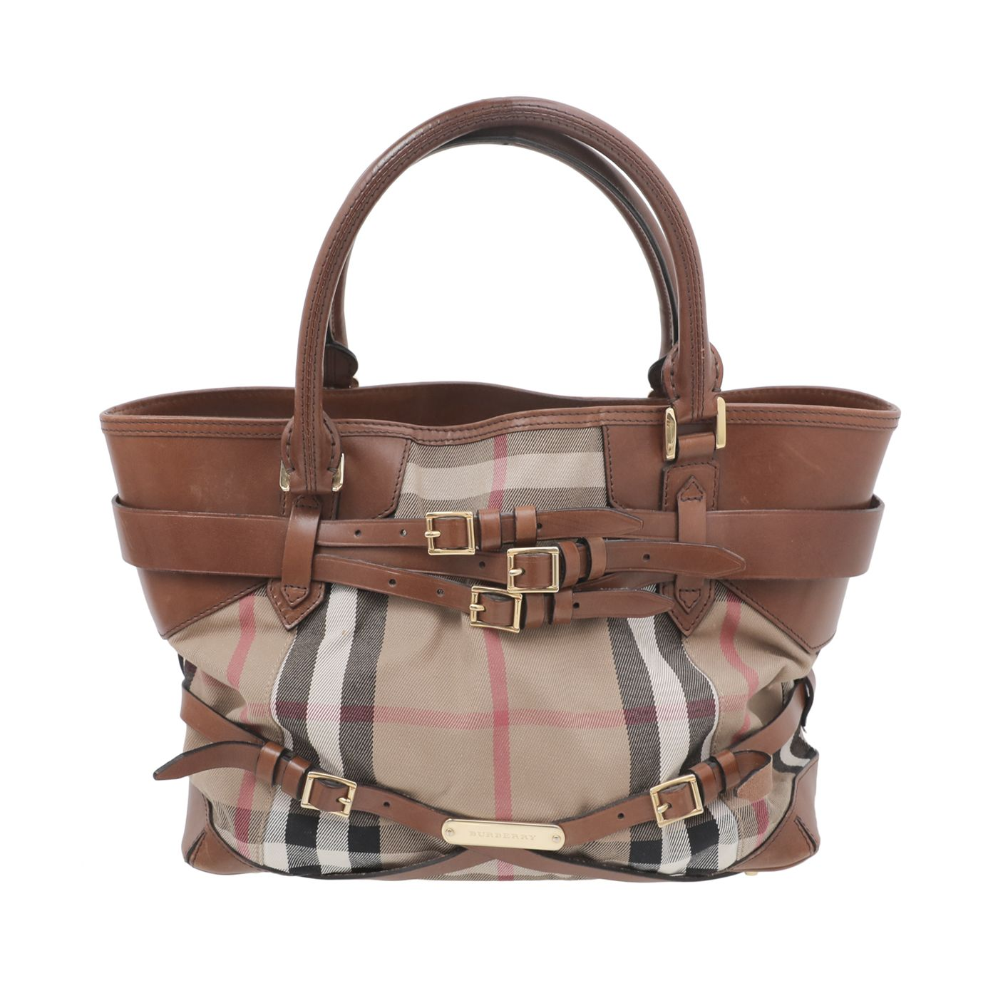 Burberry Brown Bridle Housecheck Tote Bag