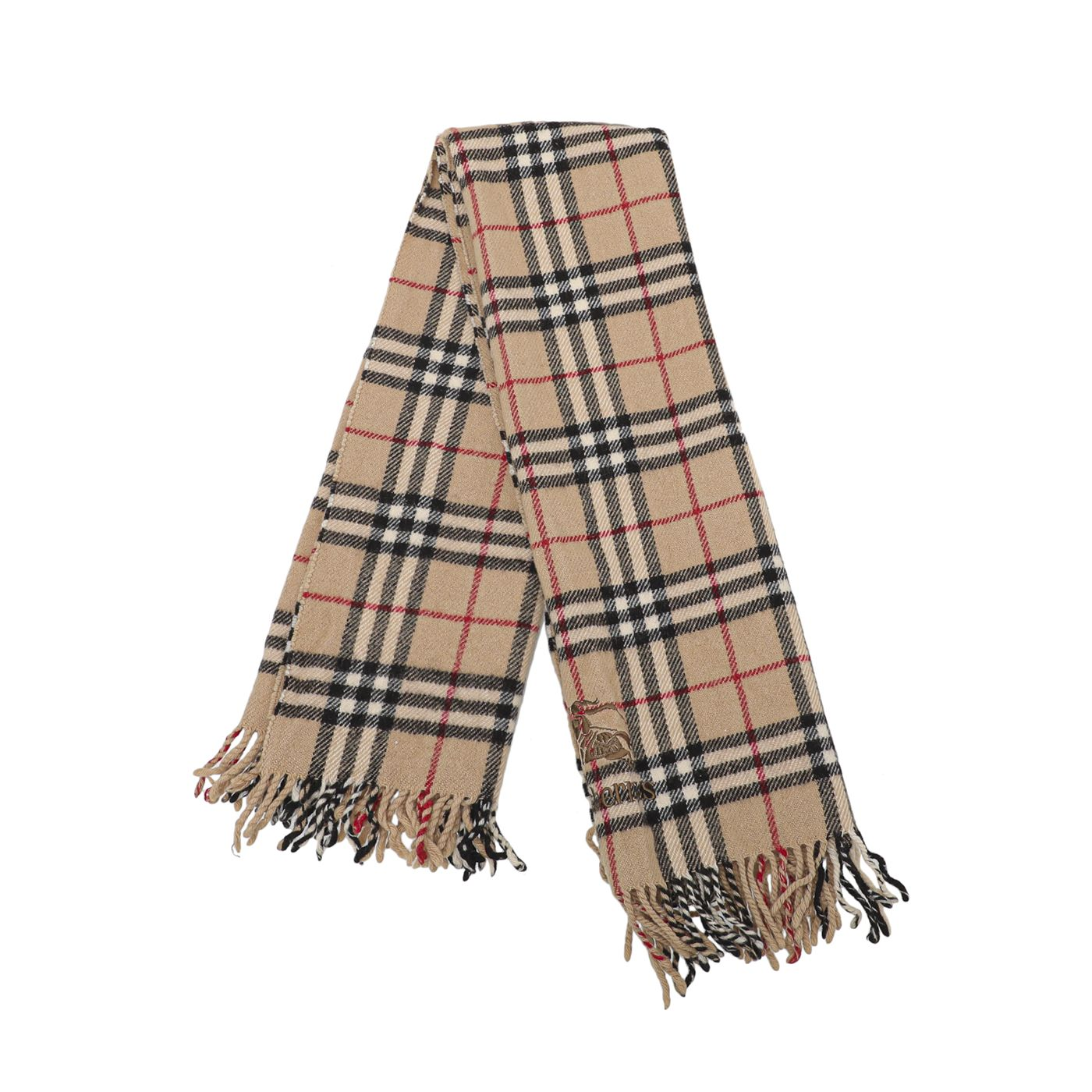 Burberry Brown Classic Check Wool Scarf