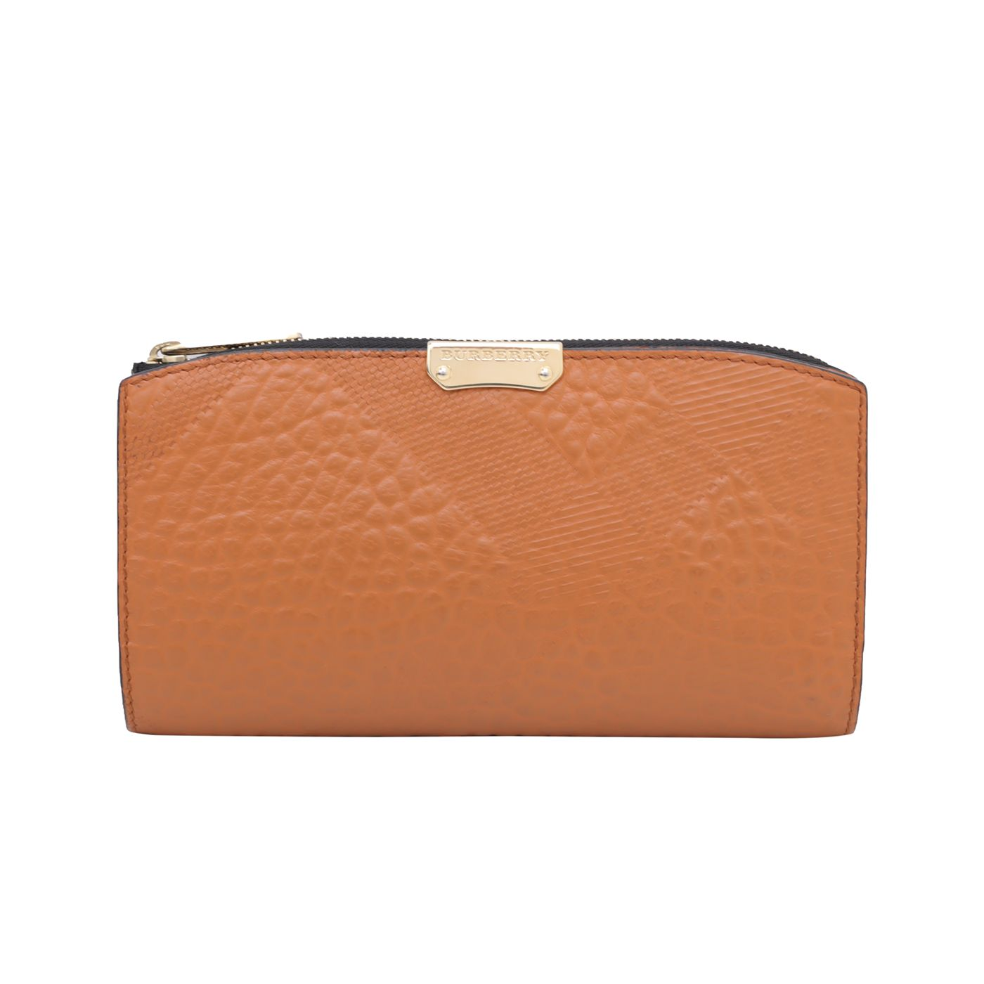 Burberry Orange Embossed Check Continental Wallet