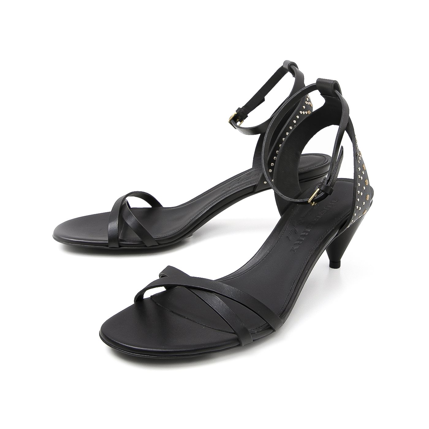 Burberry Black Hansel with Studs on Ankle Sandals 38