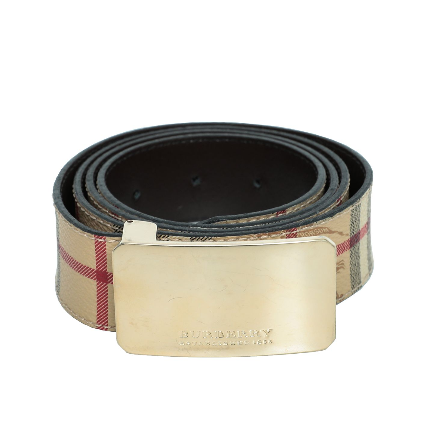 Burberry Beige Haymarket Buckle Belt 40