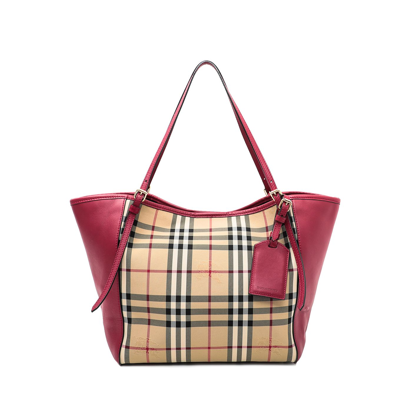 Burberry Coral Red Haymarket Check Canterbury Tote Bag