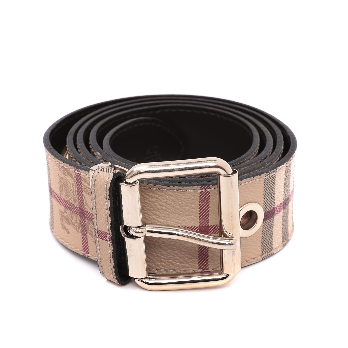Burberry Bicolor Haymarket Gold Eyelet Belt 40/100