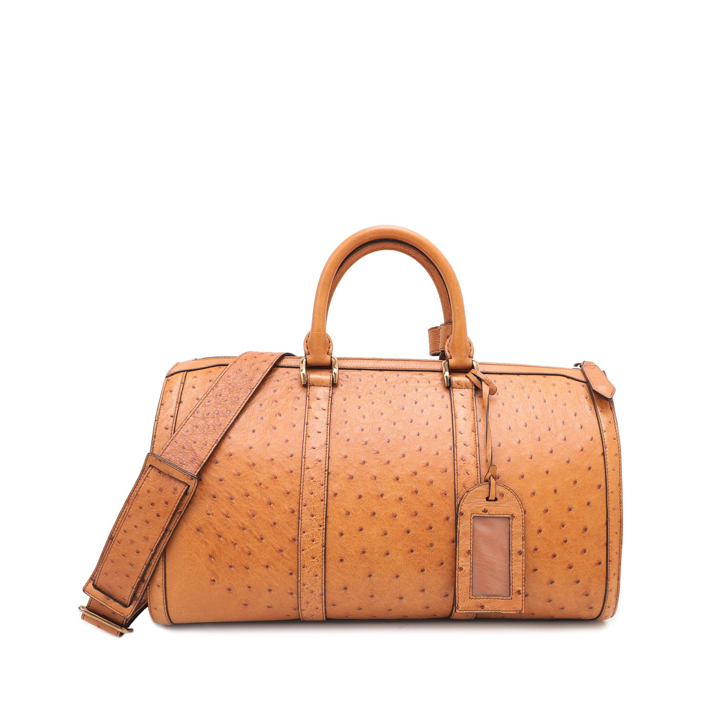 Burberry Brown Ostrich Holdall Duffle Saddle Bag