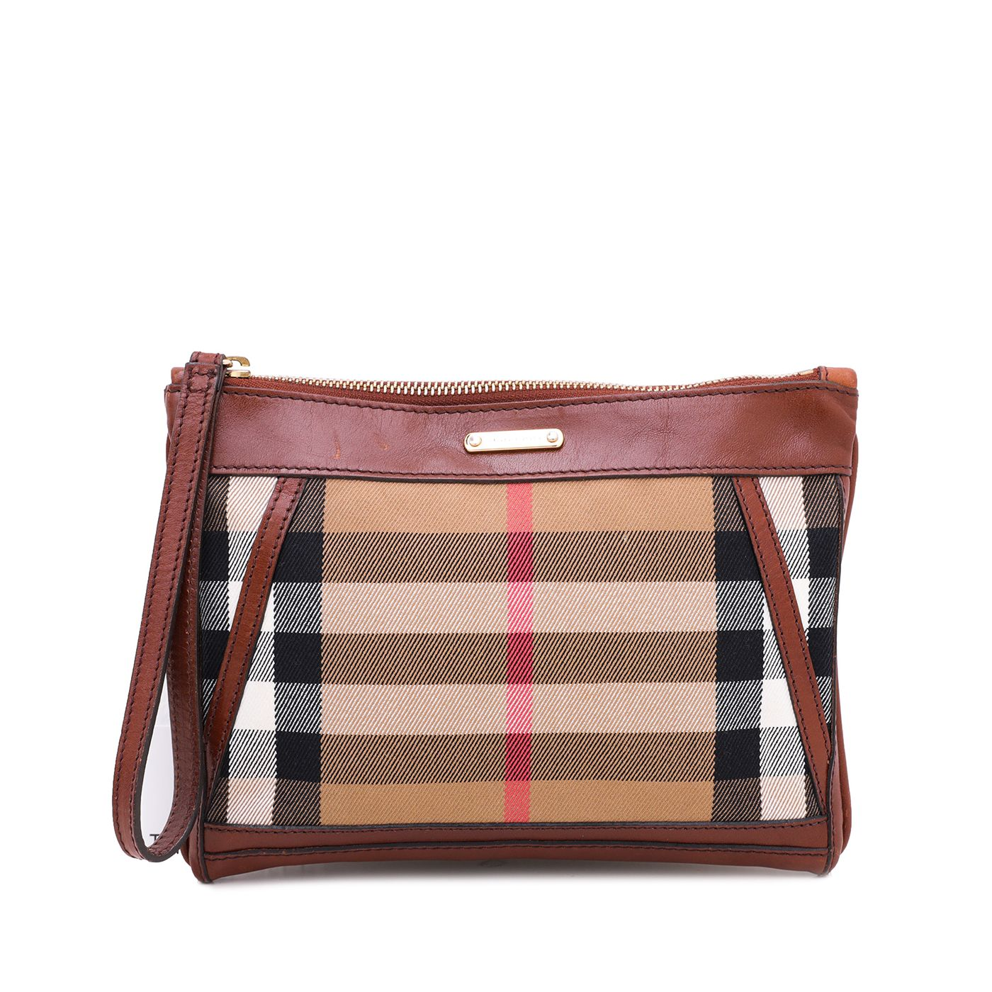 Burberry Brown Nova Check Zip Wrist Pochette