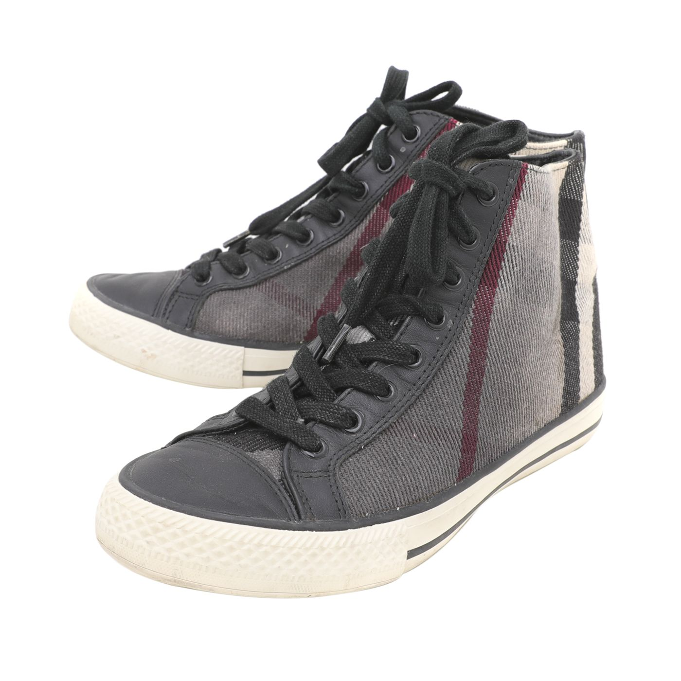 Burberry Black Novacheck Lace Up High Top Sneaker 39
