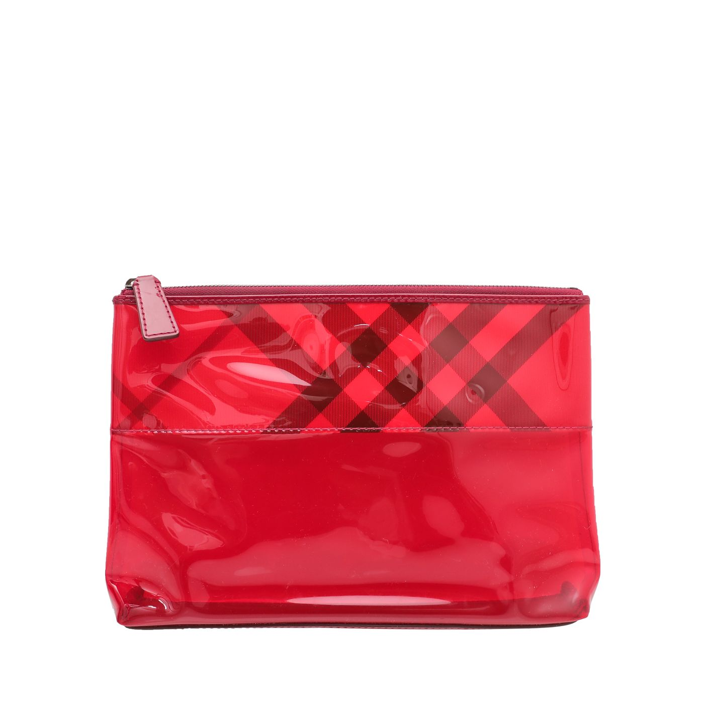 Burberry Red Novacheck Transparent Cosmetic Pouch