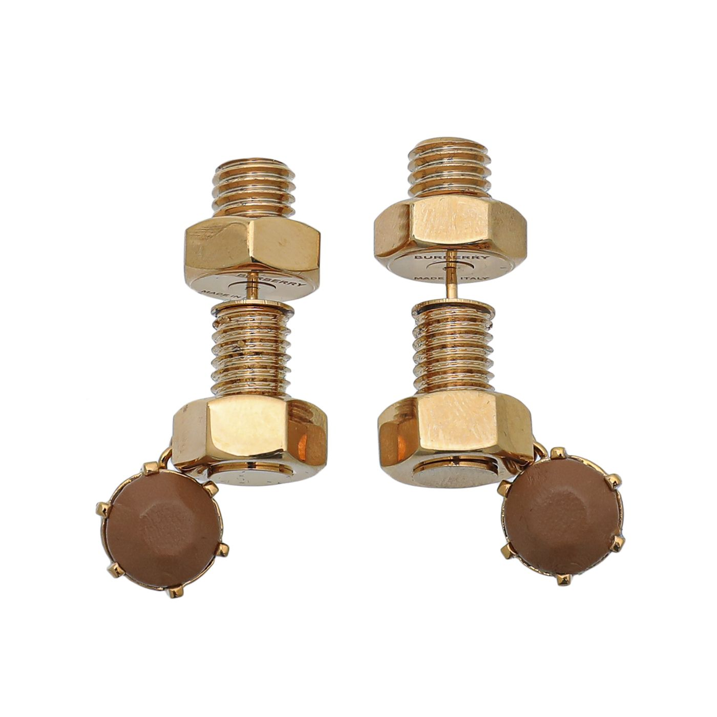 Burberry Nut and Bolt Charm Earrings W/ Brown Crystal