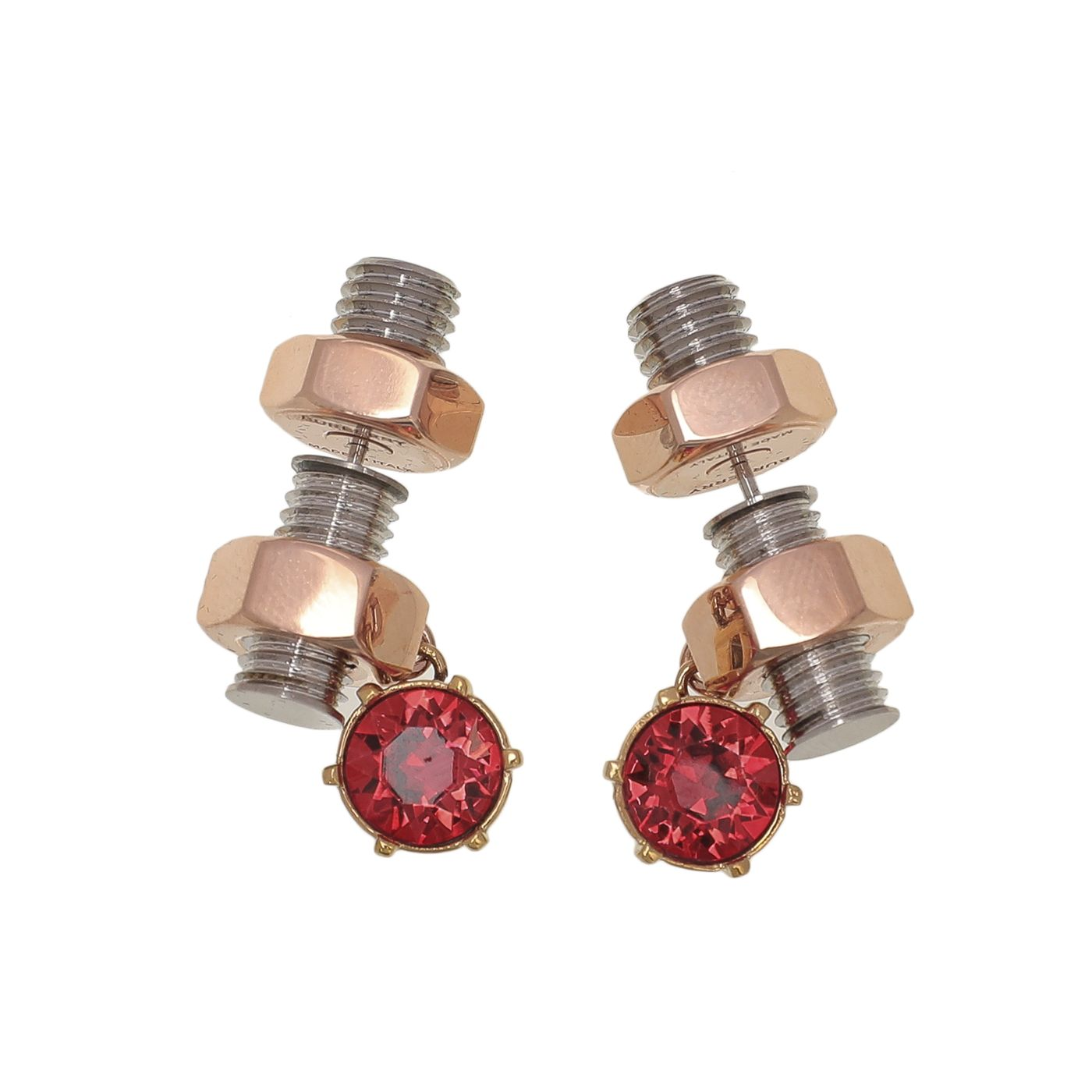 Burberry Nut And Bolt Charm Earrings W/ Red Crystal