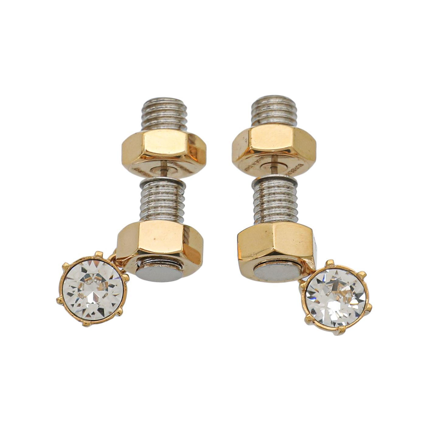 Burberry Nut and Bolt Charm Earrings W/ White Crystal