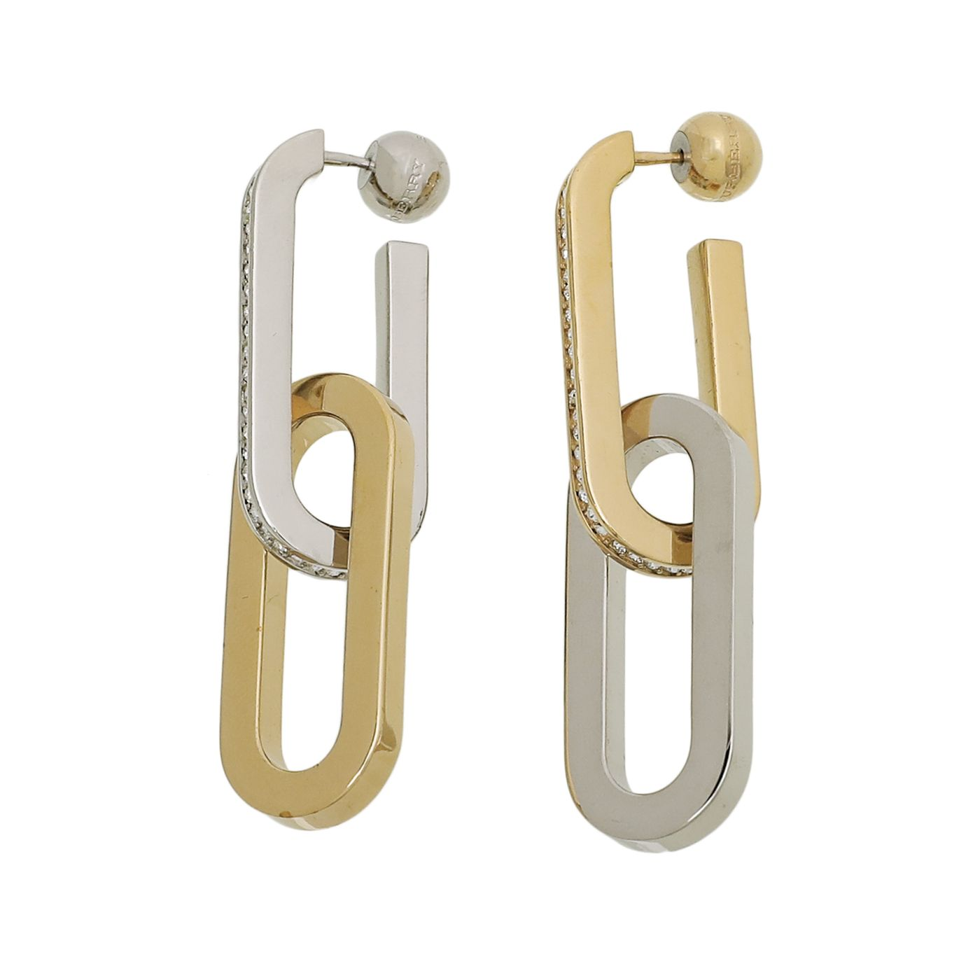 Burberry 2 Tone Oval Links Drop Earrings W/ Crystals