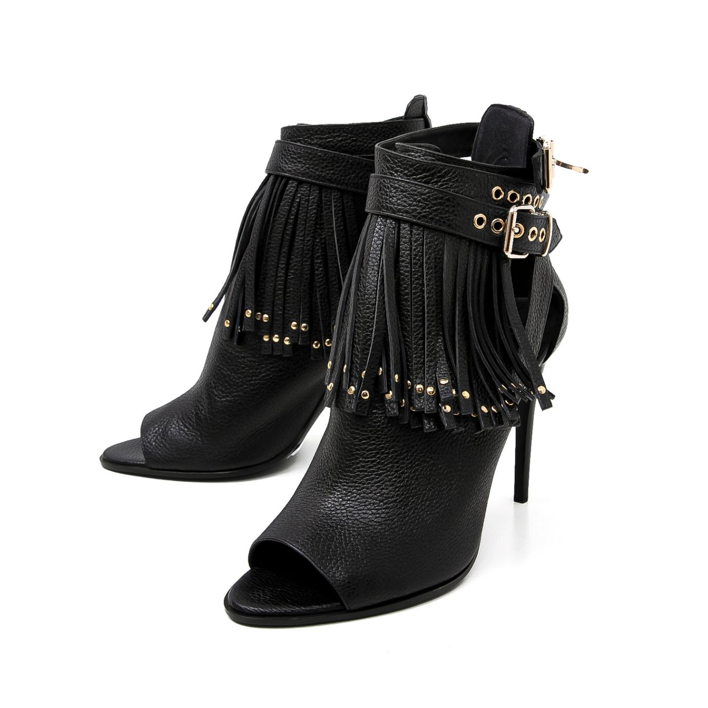 Burberry Black Overfields Fringes Peep Toe Ankle Boots 39