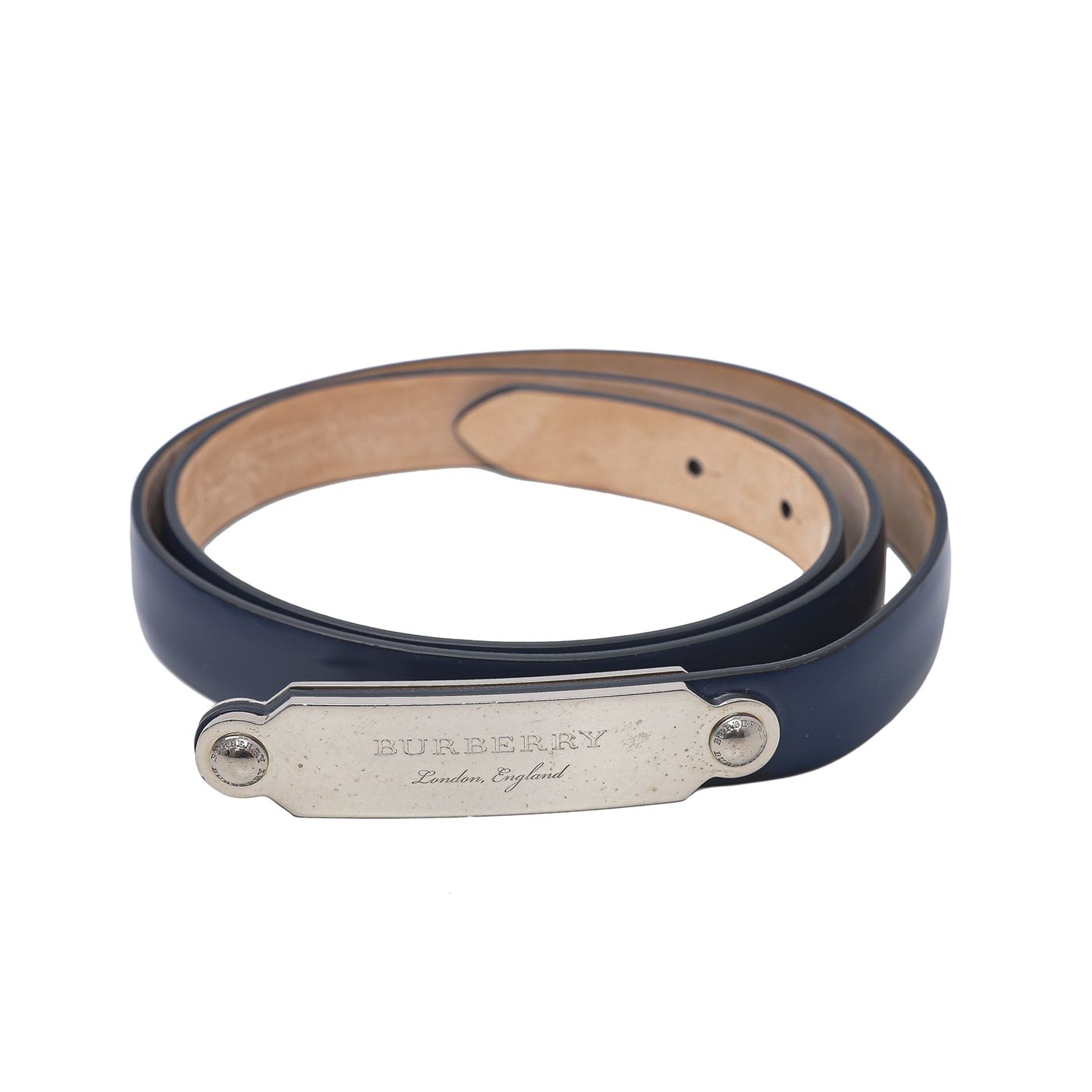 Burberry Navy Blue Reese Slim Belt 34