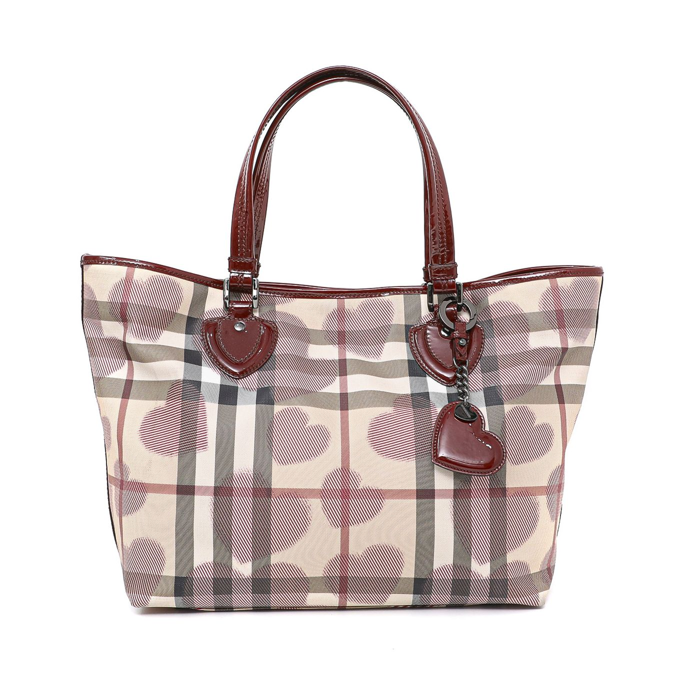Burberry Red Check Heart Tote Bag