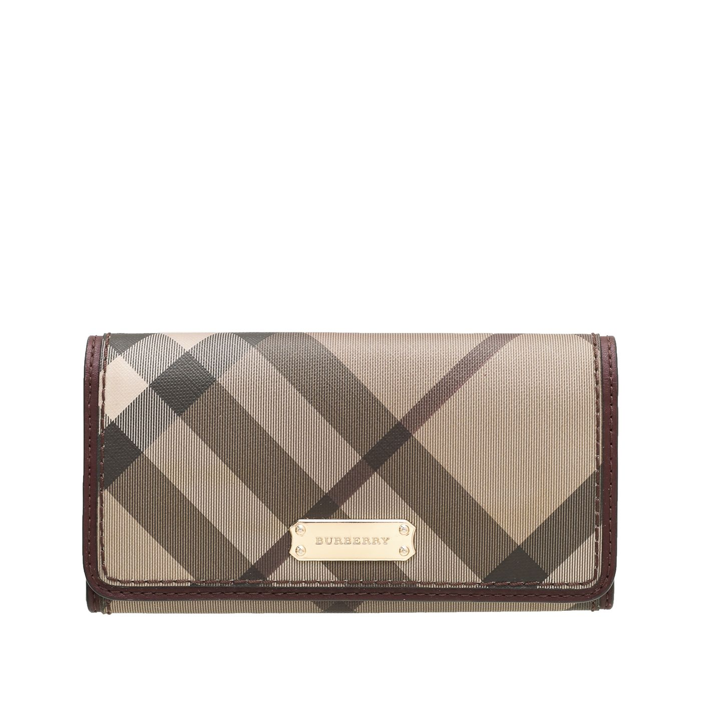 Burberry Burgundy Smoked Check Continental Wallet