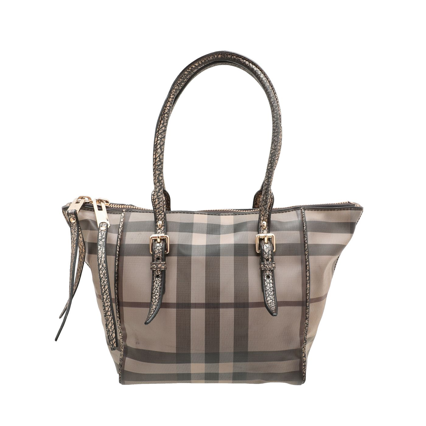 Burberry Antique Gold Smoked Check Small Salisbury Tote Bag