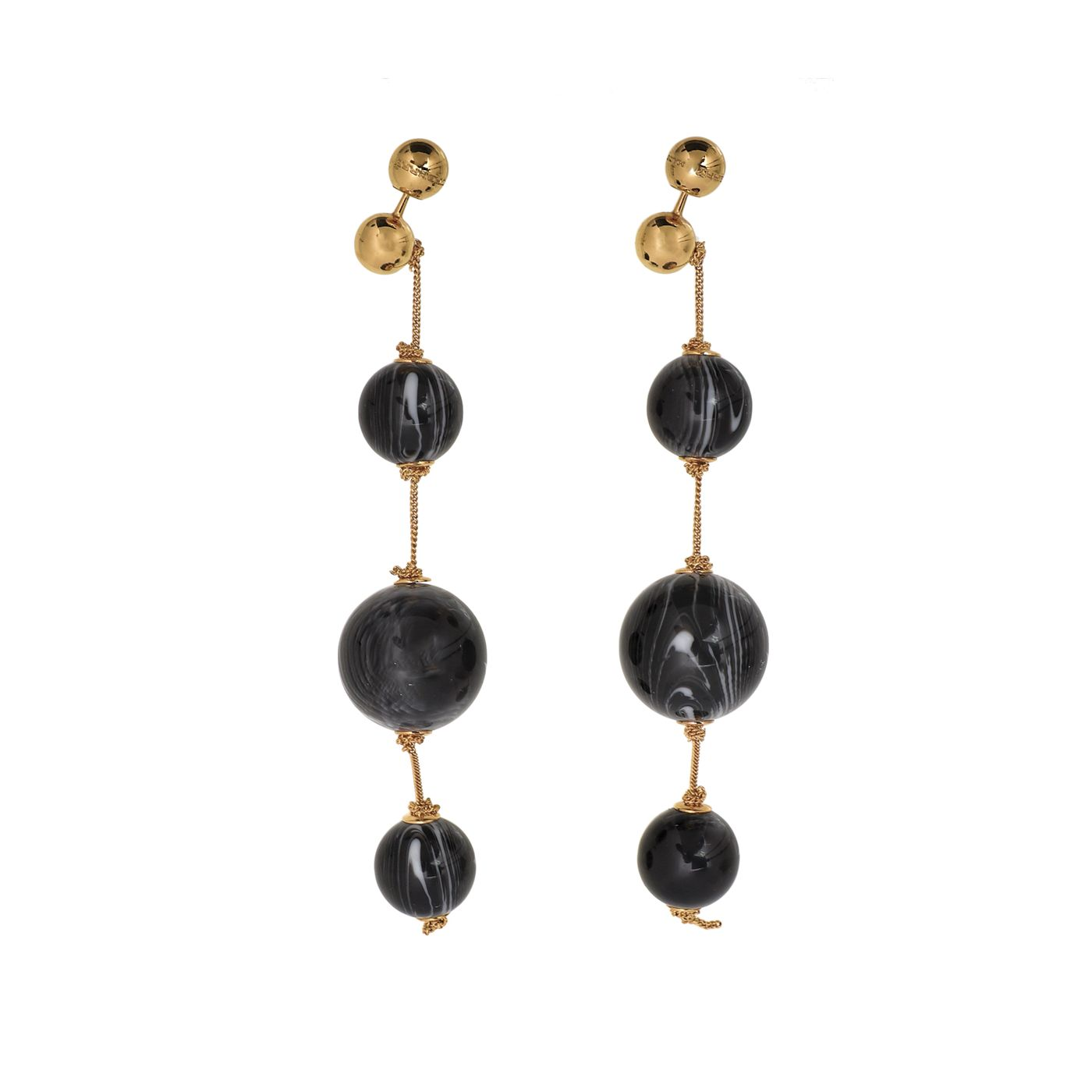 Burberry Gold Triple Orb Marble Chain Drop Earrings