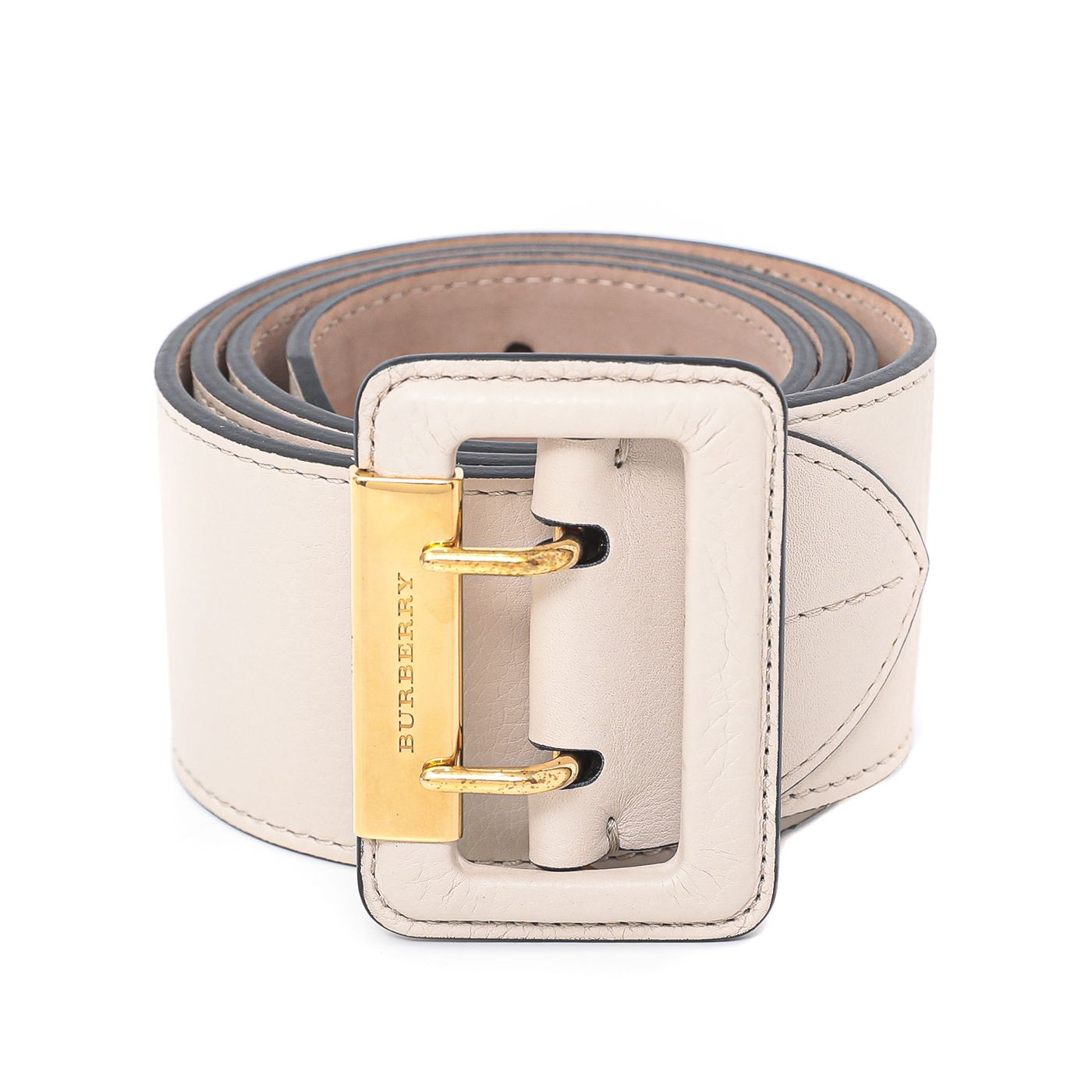 Burberry Limestone White Wide Cecille Belt 38