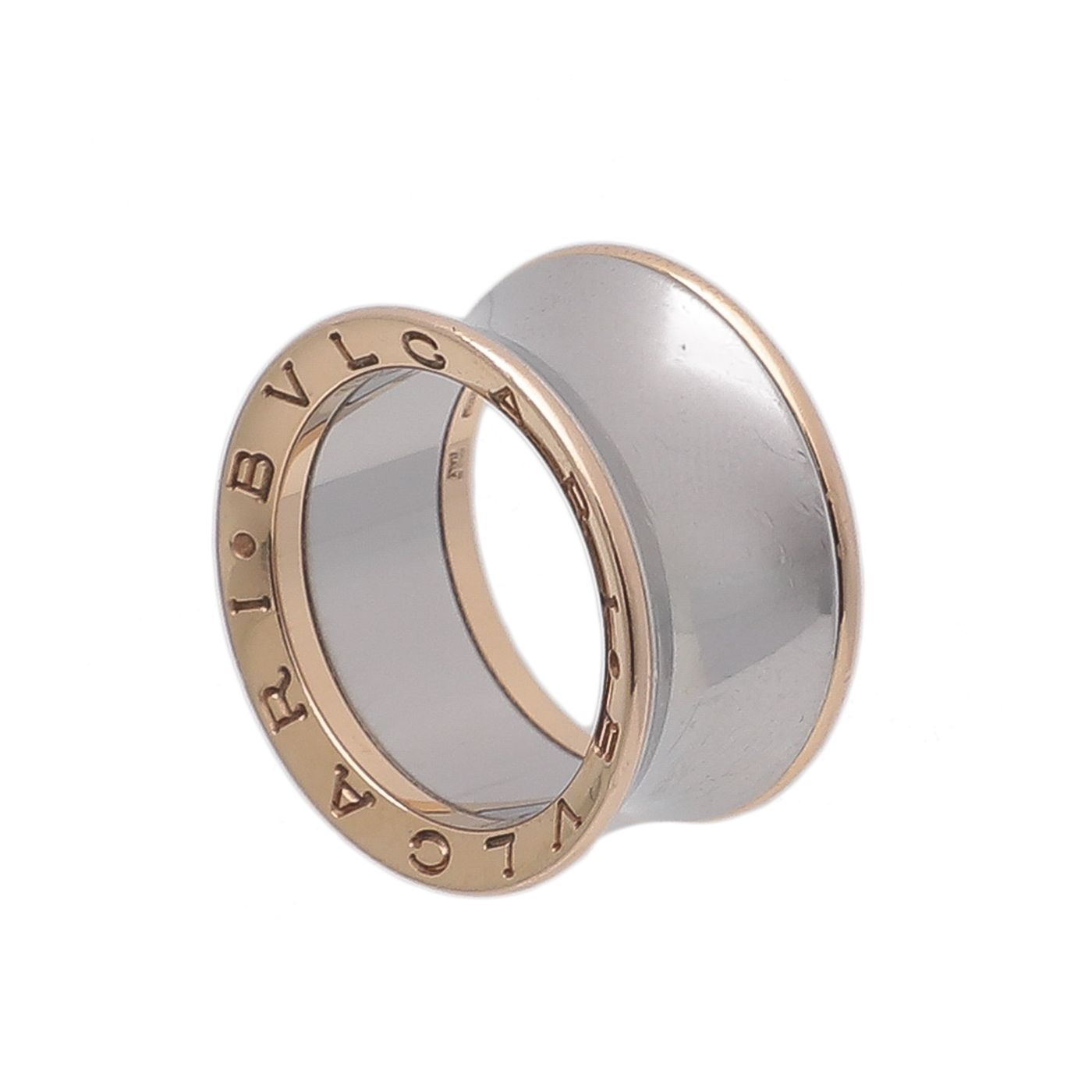 Bvlgari 18K Pink Gold and Steel Anish Kapoor Ring 56