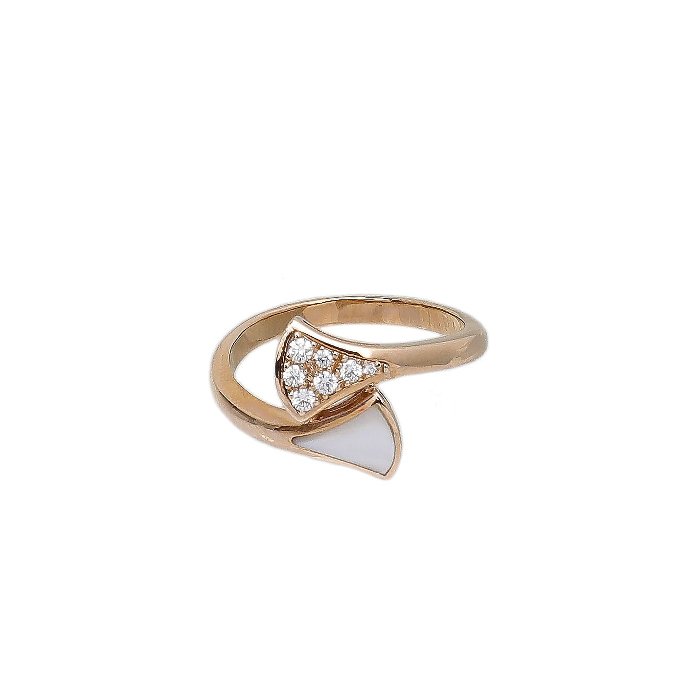 Bvlgari 18K Rose Gold Contraire MOP Diamond Divas Dream Ring 52