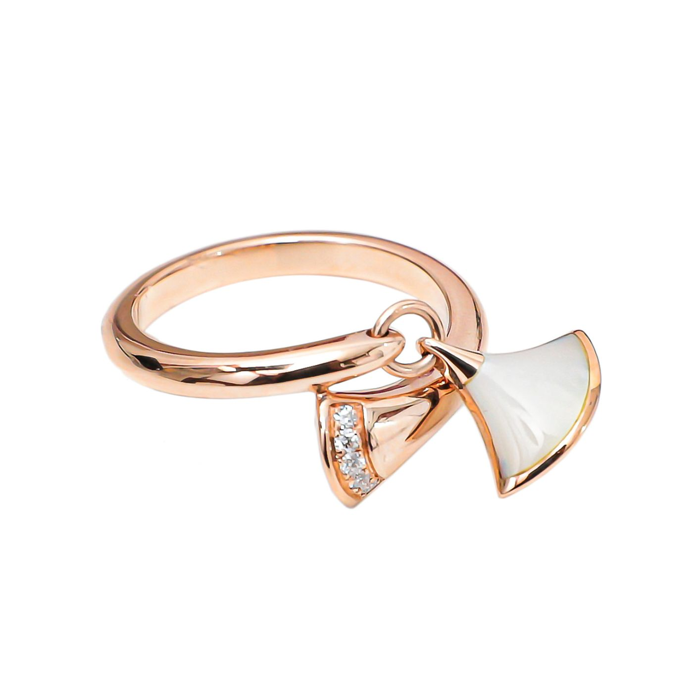Bvlgari 18k Pink Gold W/ Diamonds Diva's Dream Ring