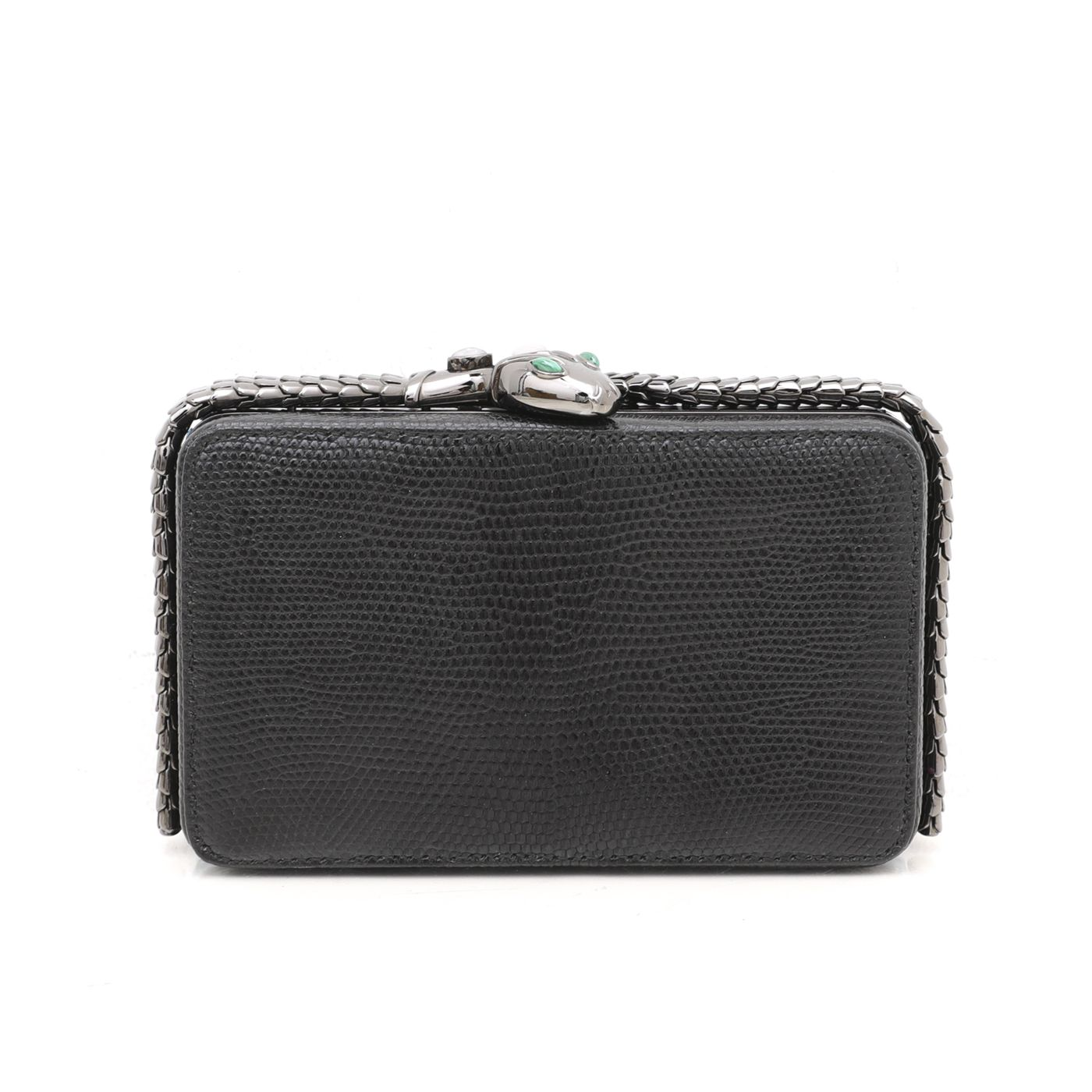 Bvlgari Black Lizard Jade Cocktail Serpenti Clutch