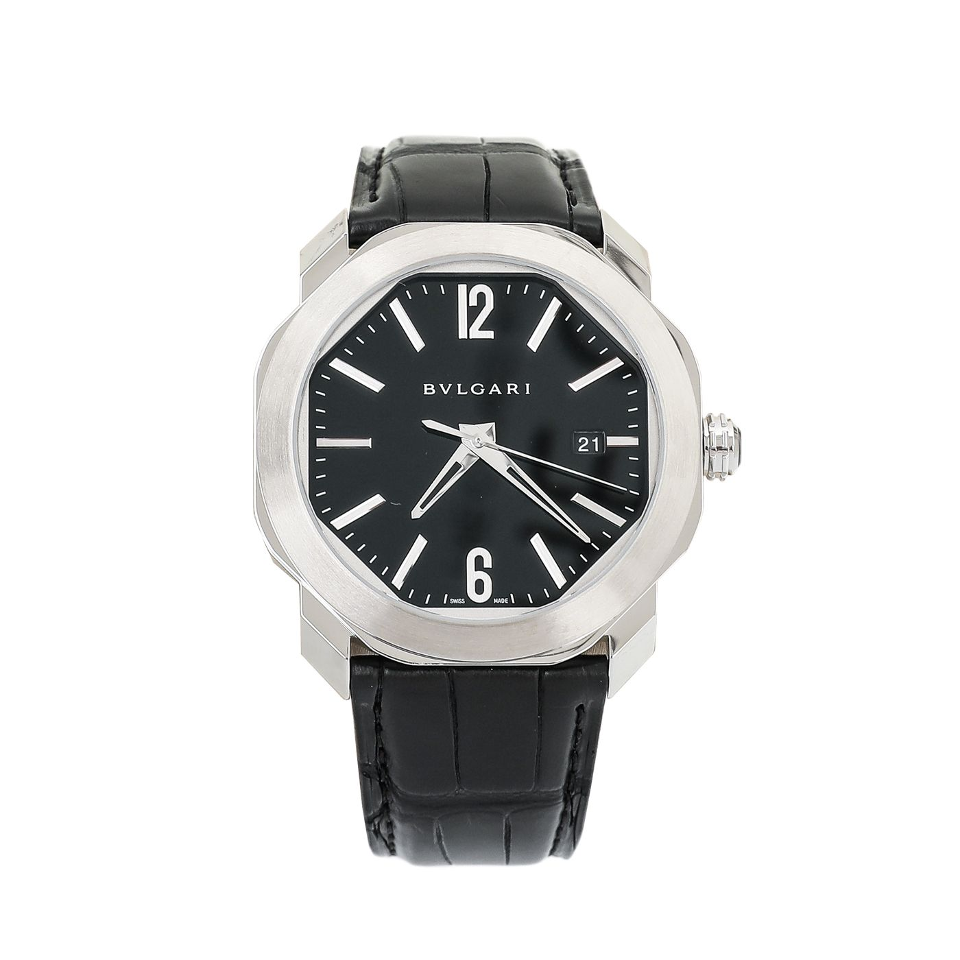 Bvlgari Stainless Steel Black Octo Roma 41mm Automatic Watch