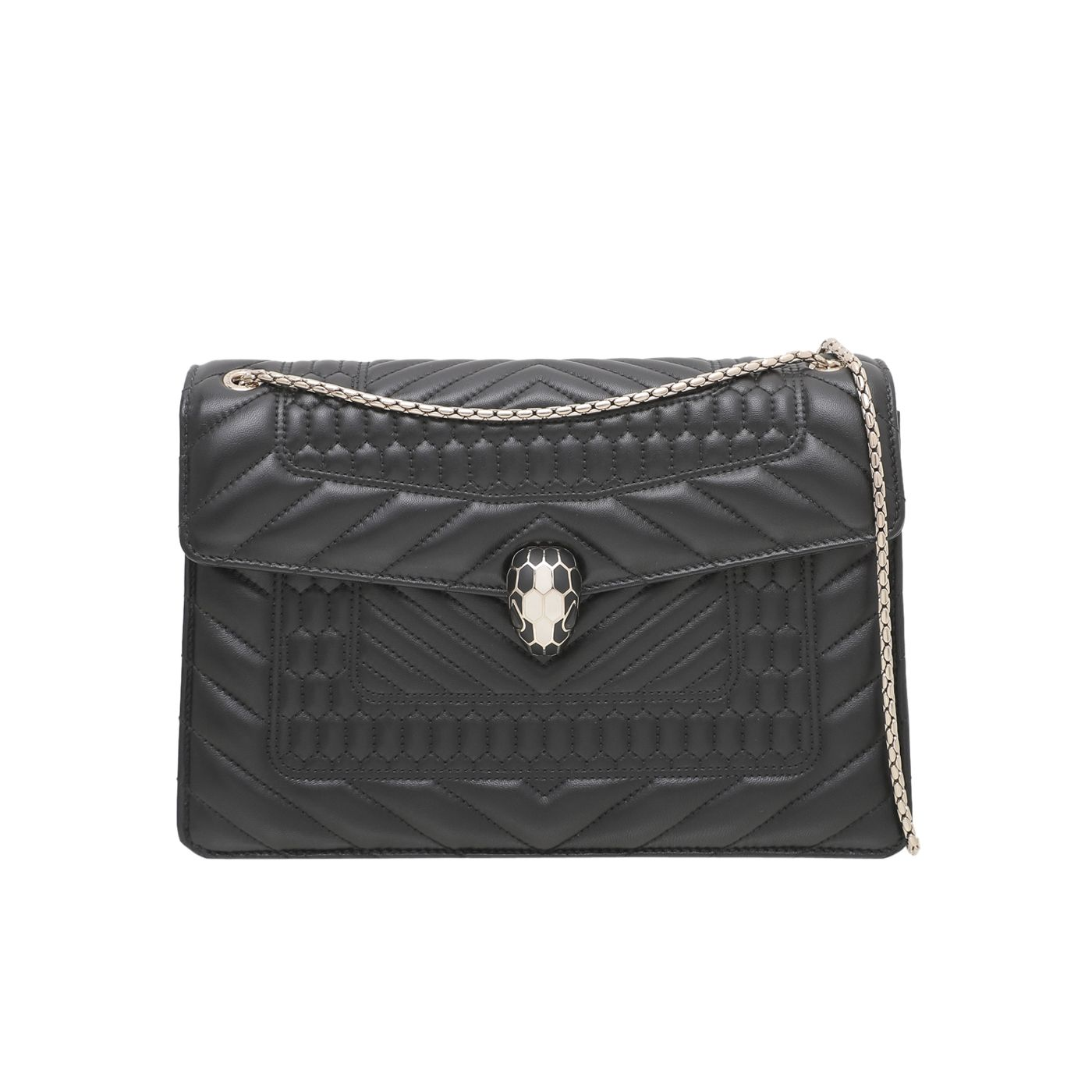 Bvlgari Black Quilted Scaglie Serpenti Forever Bag
