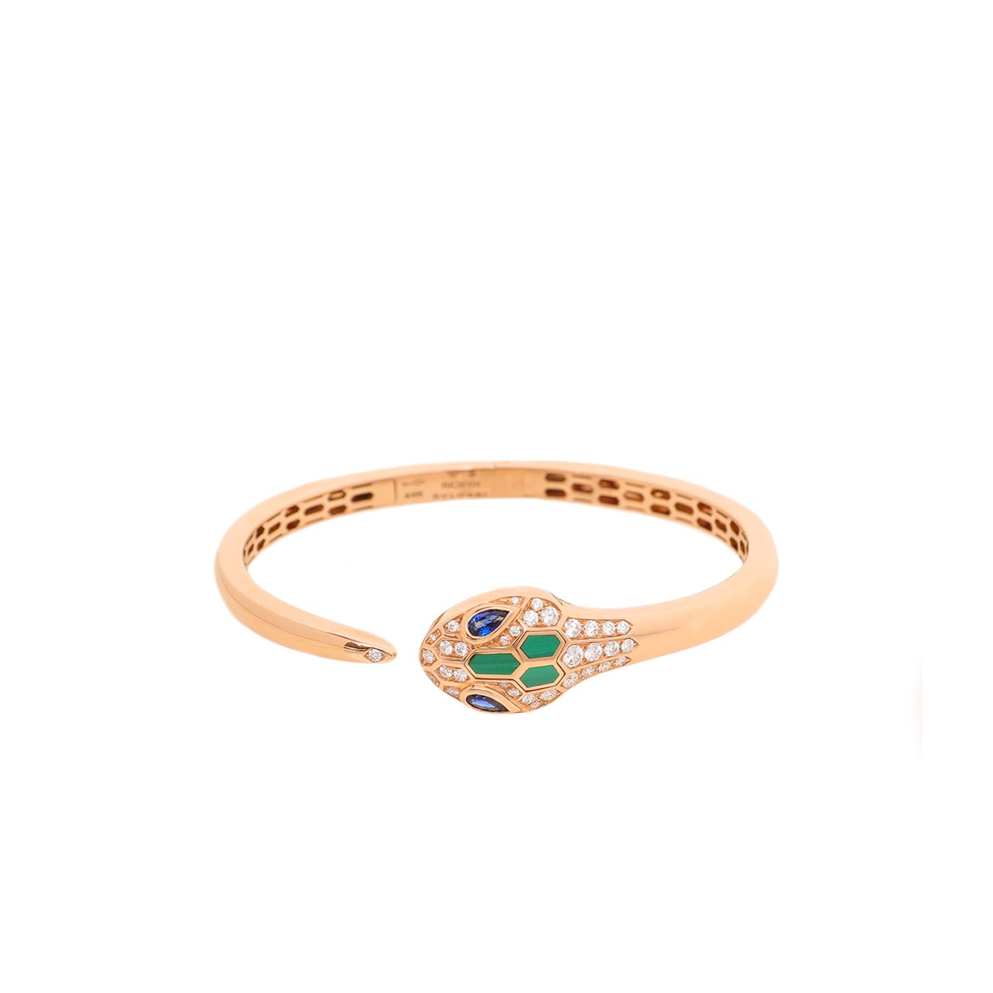 Bvlgari 18K Rose Gold Diamond Malachite Serpenti Saphire Bracelet Small