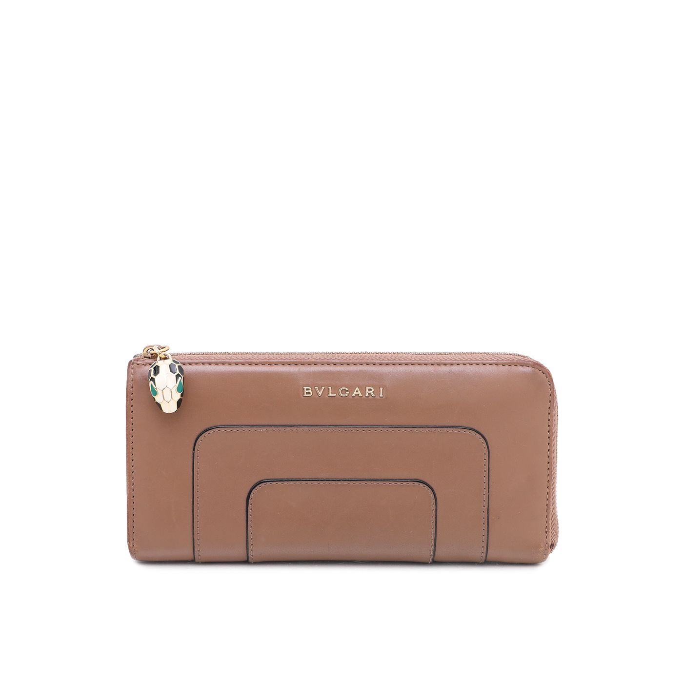 Bvlgari Brown Serpenti Forever Zipped Wallet