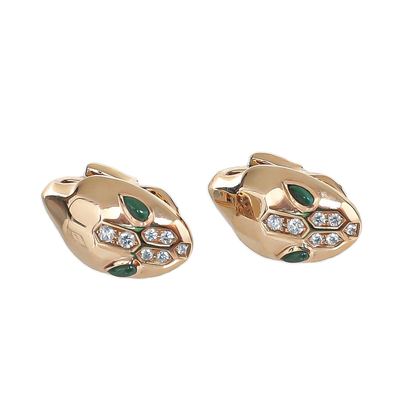 Bvlgari 18K Pink Gold serpenti W/ Malachite Demi Pave Daimonds Earrings