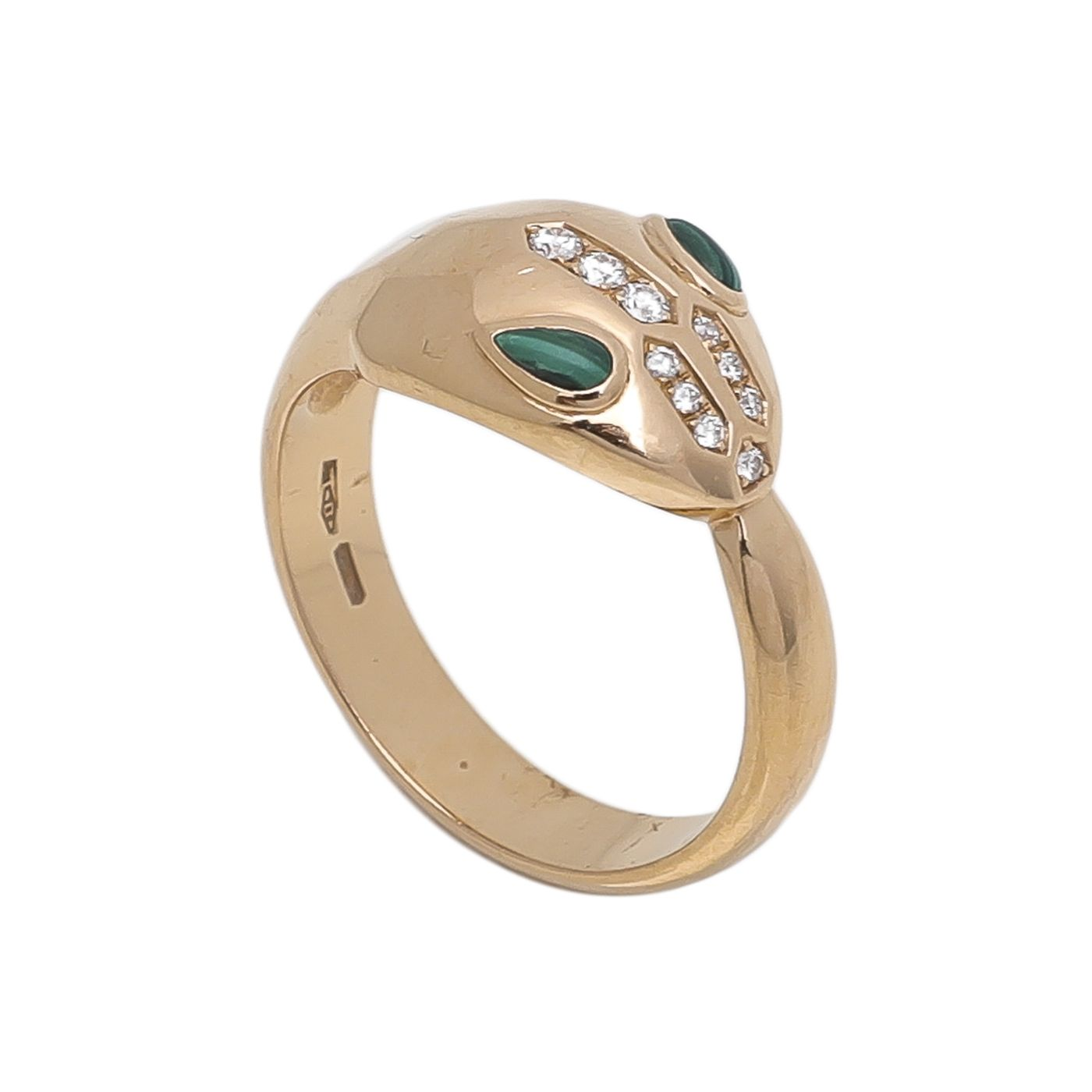 Bvlgari 18K Pink Gold Diamonds Malachite Serpenti Ring