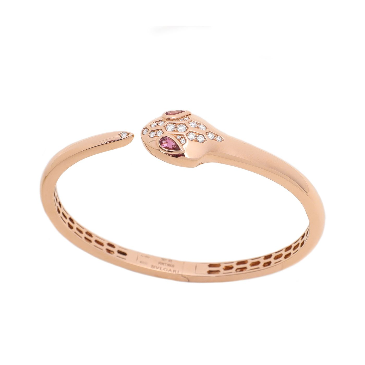 Bvlgari 18K Rose Gold Serpenti Rubellite Eyes Diamond Bracelet Medium