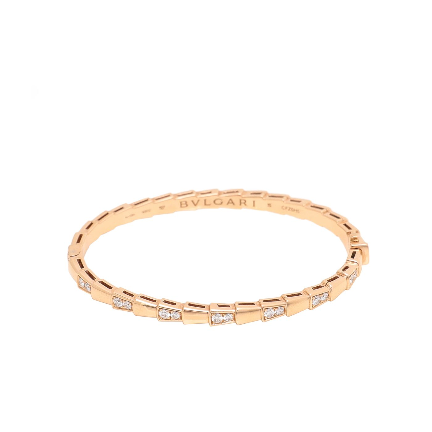 Bvlgari 18K Rose Gold Diamonds Serpenti Viper Bracelet Small