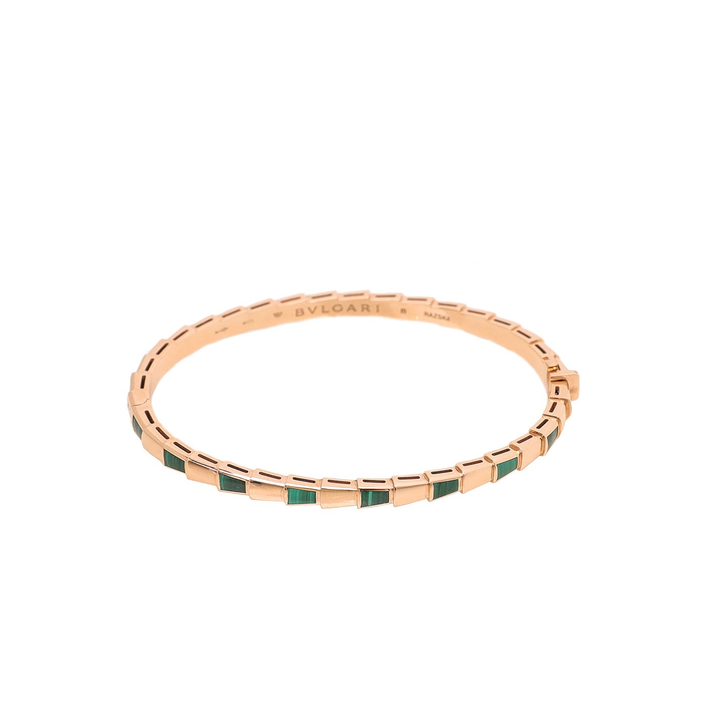 Bvlgari 18K Rose Gold Malachite Elements Serpenti Viper Bracelet Medium
