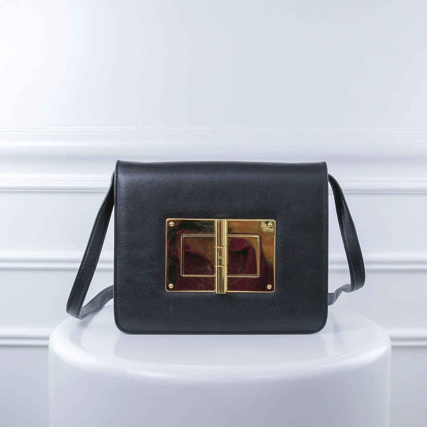 Tom Ford Black Natalia Large Flap Shoulder Bag