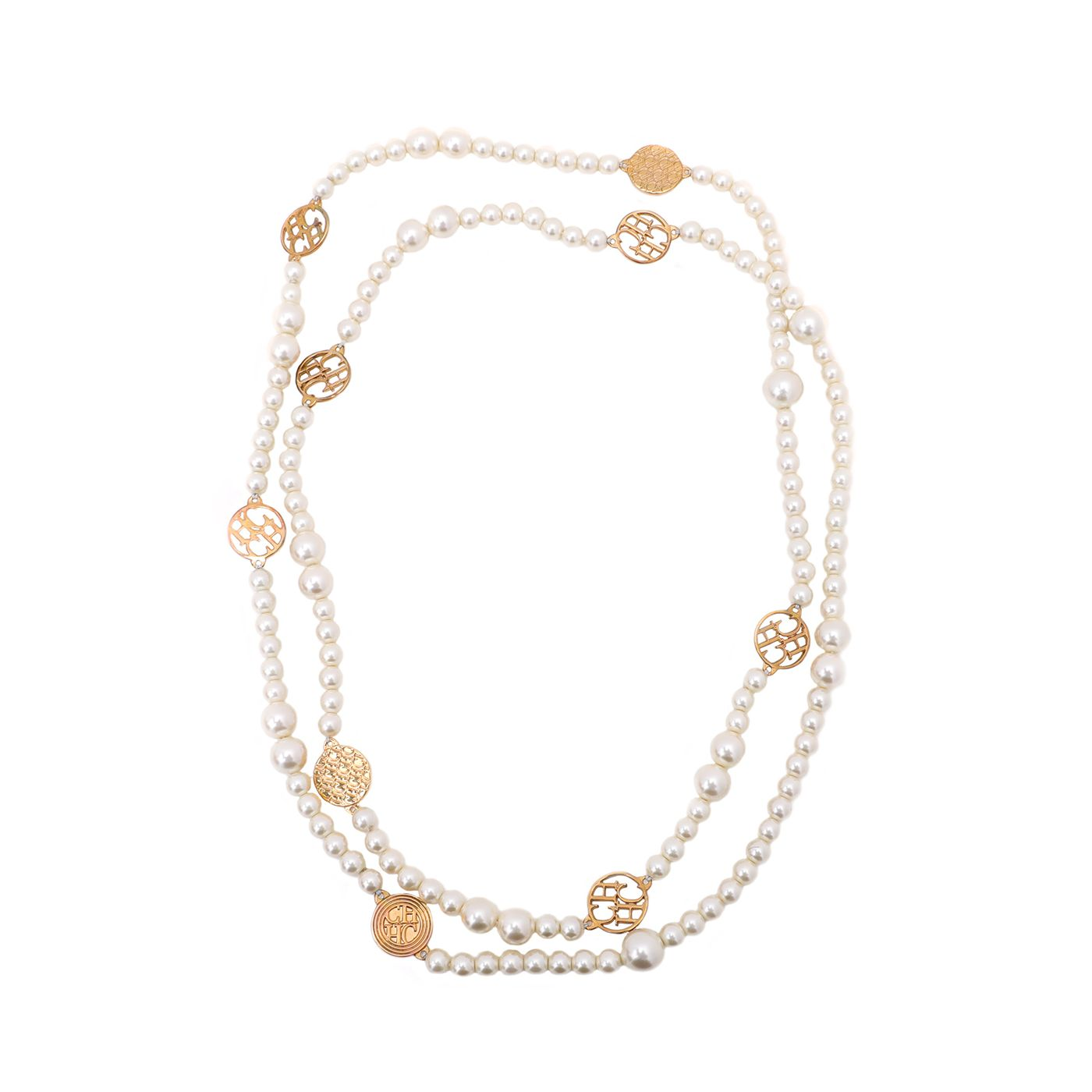 Carolina Herrera Ivory Pearls CH Long Station Necklace