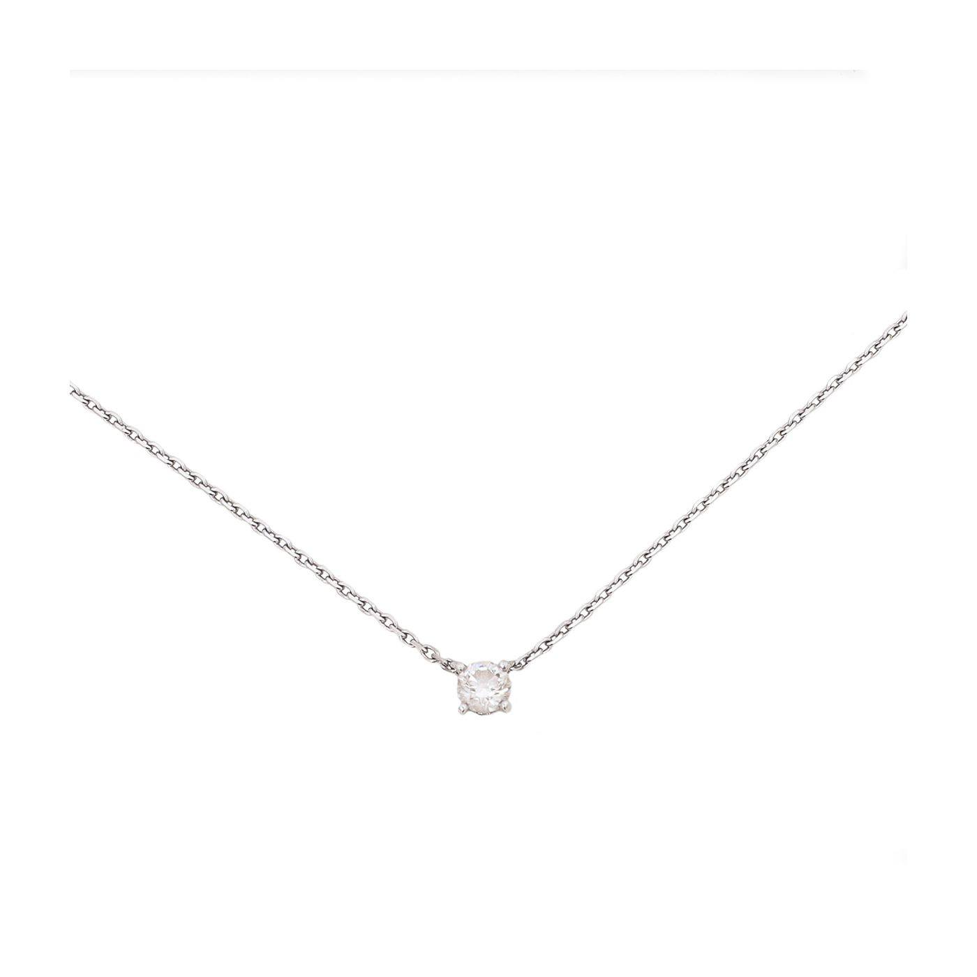 Cartier 18K White Gold 1895 Necklace w/ Diamond