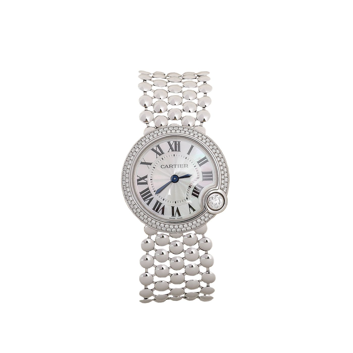 Cartier 18K White Gold Diamonds Ballon Blanc De Cartier 30mm Watch