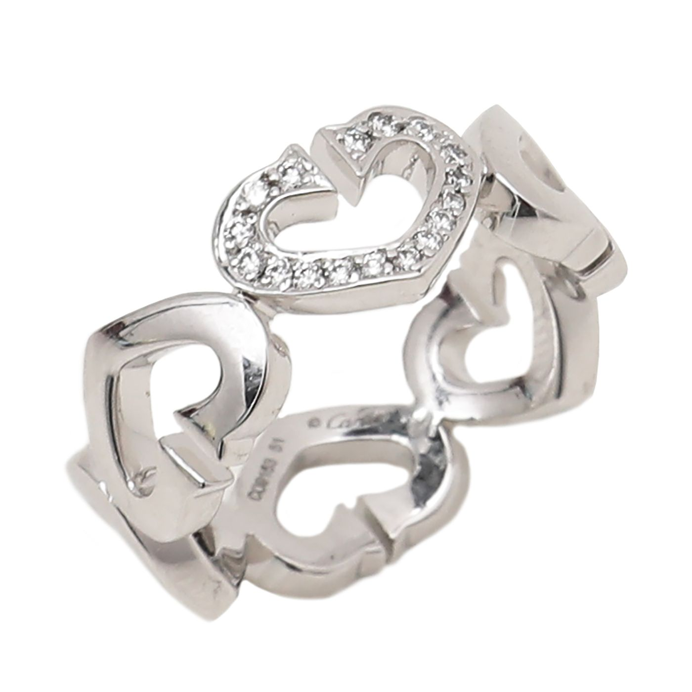 Cartier 18K White Gold Pave Diamond Heart Symbols Ring 51