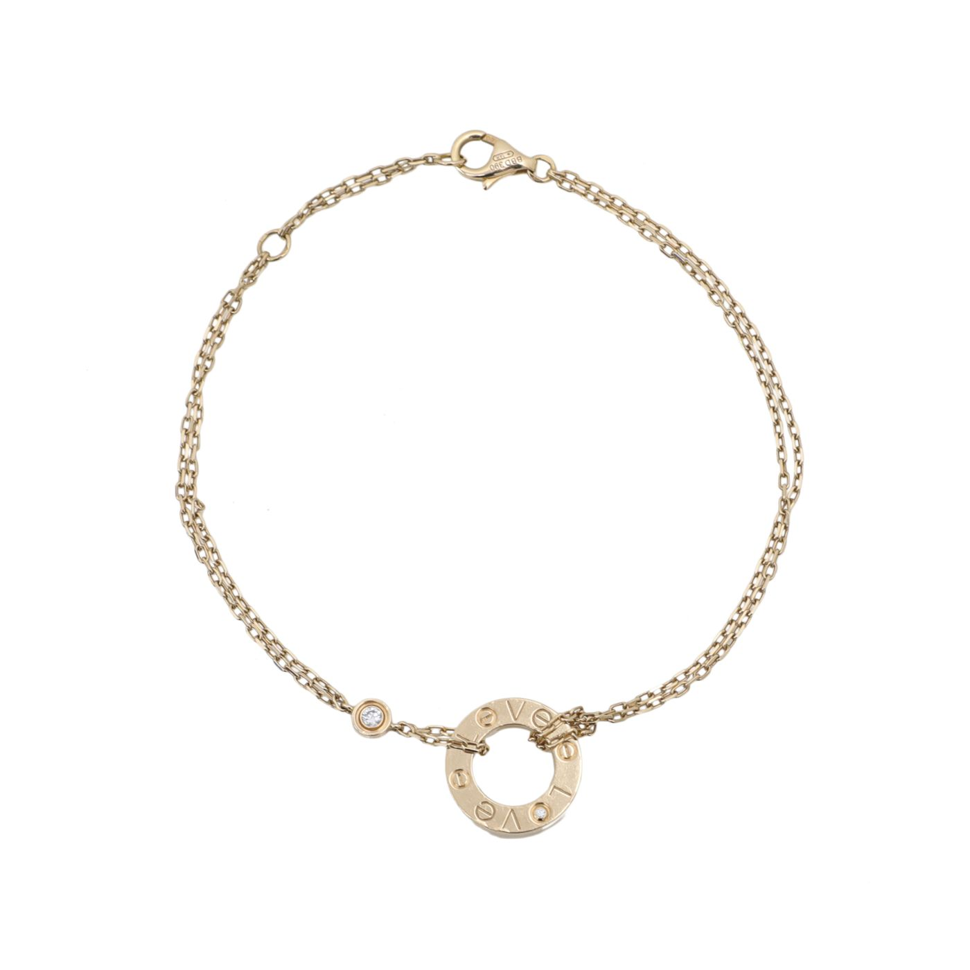 Cartier 18K Yellow Gold Diamond Love Chain Bracelet