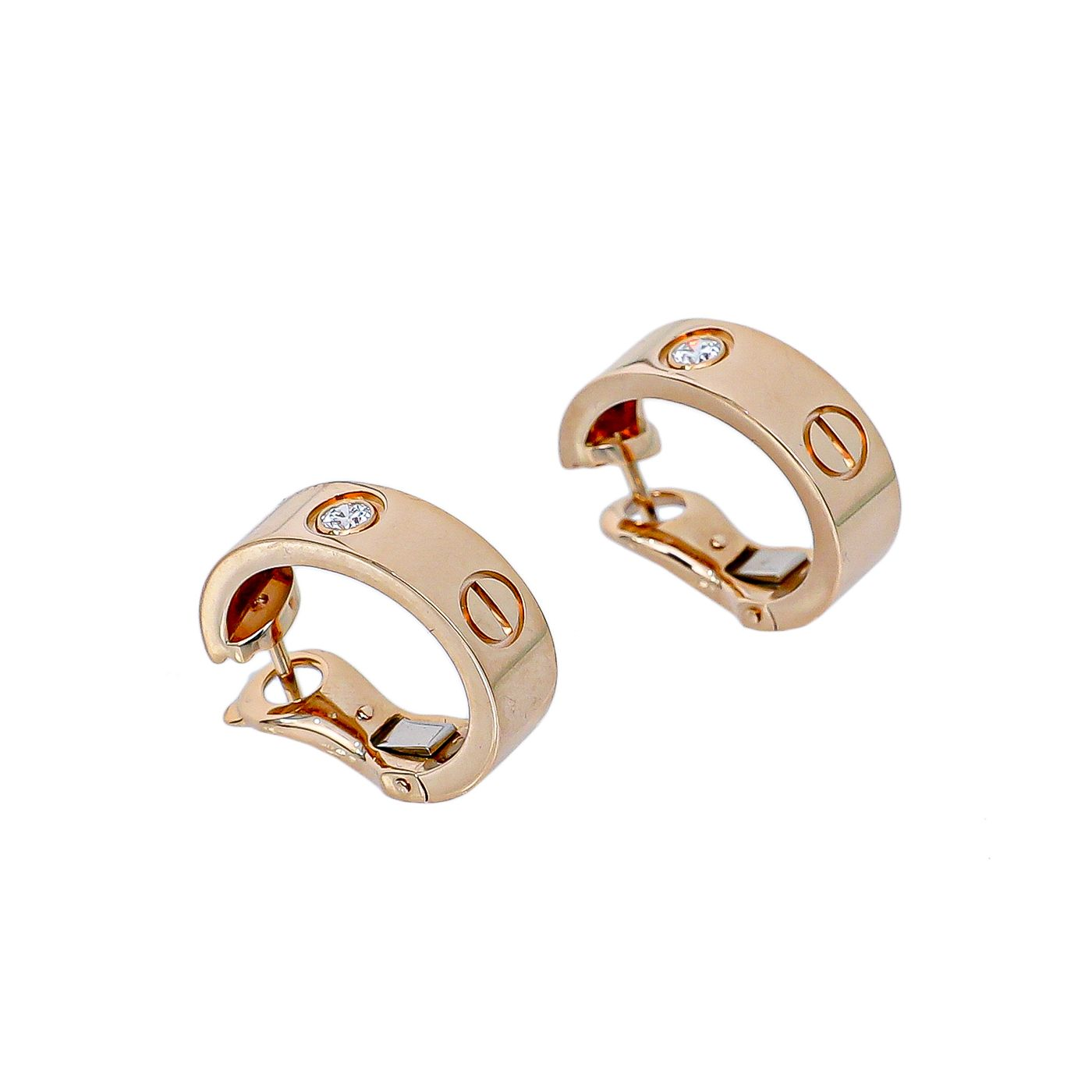 Cartier 18K Rose Gold Love Hoop Diamond Earrings