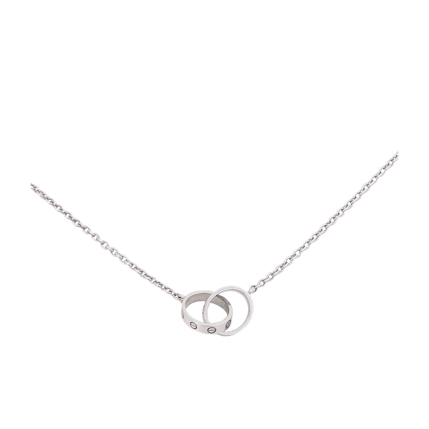 Cartier 18K White Gold Love Hoop Necklace